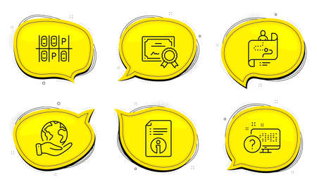 Online quiz sign. Diploma certificate, save planet chat bubbles. Journey path, Parking place and Technical info line icons set. Project process, Transport, Documentation. Web support. Vector