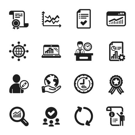 Set of Technology icons, such as 48 hours, Graph laptop. Certificate, approved group, save planet. International globe, Report, Data analysis. Approved checklist, Refresh, Diagram chart. Vector