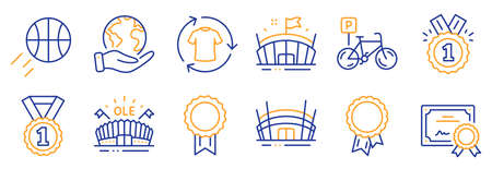 Set of Sports icons, such as Basketball, Approved. Certificate, save planet. Arena, Best rank, Change clothes. Arena stadium, Success, Bicycle parking. Reward line icons. Vector