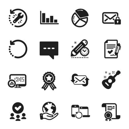 Set of Education icons, such as Secure mail, Approved agreement. Certificate, approved group, save planet. Refresh mail, Report statistics, Project deadline. Blog, Guitar, Pie chart. Vector
