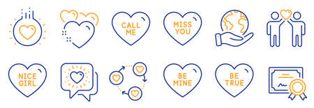 Set of Love icons, such as Miss you, Be true. Certificate, save planet. Friends community, Call me, Friends chat. Heart, Love, Nice girl. Be mine line icons. Love heart, Friendship. Vector Vettoriali