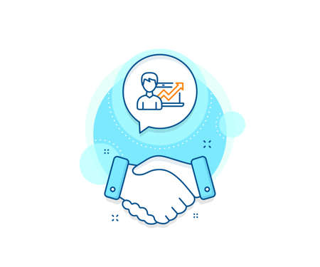 Growth chart sign. Handshake deal complex icon. Business results line icon. Agreement shaking hands banner. Success Business sign. Vector Illusztráció