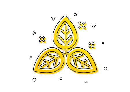 Bio cosmetics sign. Fair trade icon. Organic tested symbol. Yellow circles pattern. Classic fair trade icon. Geometric elements. Vector