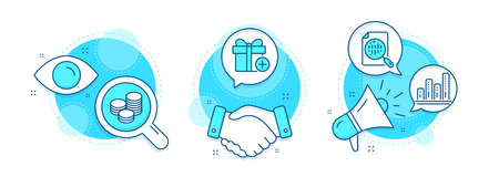Add gift, Graph chart and Tips line icons set. Handshake deal, research and promotion complex icons. Analytics chart sign. Present box, Growth report, Cash coins. Report analysis. Business set. Vector 일러스트