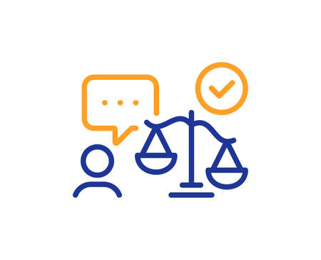 Lawyer line icon. Court judge sign. Justice scale symbol. Colorful thin line outline concept. Linear style lawyer icon. Editable stroke. Vector