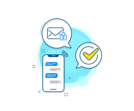 Private Message correspondence sign. Phone messages complex icon. Secure Mail line icon. E-mail symbol. Messenger chat screen banner. Secure Mail sign. Vector Vectores