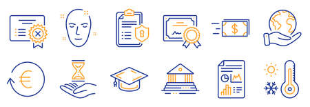 Set of Business icons, such as Reject certificate, Time hourglass. Certificate, save planet. Privacy policy, Exchange currency, Weather thermometer. Vector