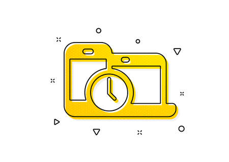 Clock sign. Time management icon. Mobile devices symbol. Yellow circles pattern. Classic time management icon. Geometric elements. Vector