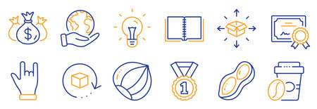 Set of Business icons, such as Check investment, Hazelnut. Certificate, save planet. Idea, Book, Return package. Peanut, Takeaway coffee, Best rank. Horns hand, Parcel delivery line icons. Vector 向量圖像