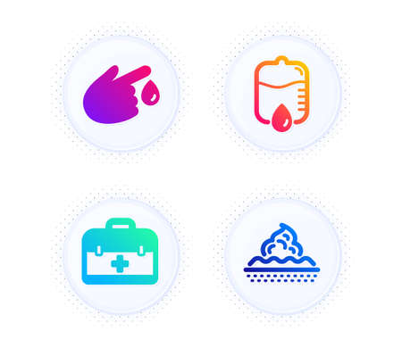First aid, Blood donation and Drop counter icons simple set. Button with halftone dots. Skin care sign. Medicine case, Injury, Medical equipment. Face cream. Healthcare set. Vector Vector Illustration