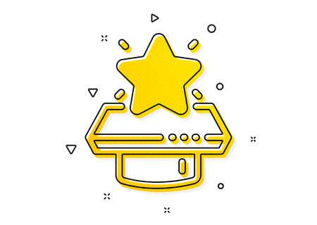 First place sign. Winner podium icon. Best rank star symbol. Yellow circles pattern. Classic winner podium icon. Geometric elements. Vector