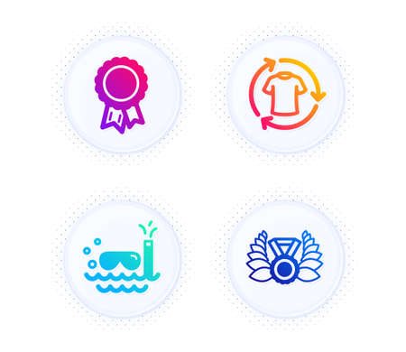Change clothes, Scuba diving and Success icons simple set. Button with halftone dots. Laureate medal sign. Shirt, Trip swimming, Award reward. Laurel wreath. Sports set. Vector