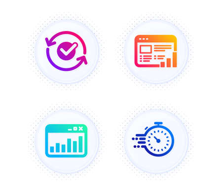 Web report, Marketing statistics and Approved icons simple set. Button with halftone dots. Timer sign. Graph chart, Web analytics, Refresh symbol. Deadline management. Education set. Vector