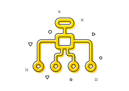Business architecture sign. Restructuring icon. Delegate symbol. Yellow circles pattern. Classic restructuring icon. Geometric elements. Vector