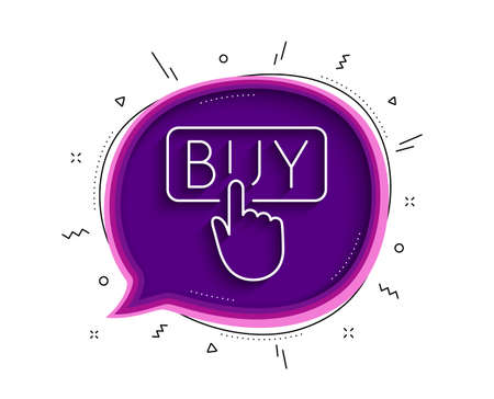 Click to Buy line icon. Chat bubble with shadow. Online Shopping sign. E-commerce processing symbol. Thin line buying icon. Vector Çizim