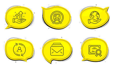 Mail sign. Diploma certificate, save planet chat bubbles. Analysis graph, Metro subway and User info line icons set. Targeting chart, Underground, Update profile. New messages. Business set. Vector Foto de archivo - 150309753
