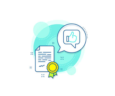 Thumbs up sign. Certification complex icon. Like line icon. Positive feedback, social media symbol. Certificate or diploma document. Like sign. Vector Illustration