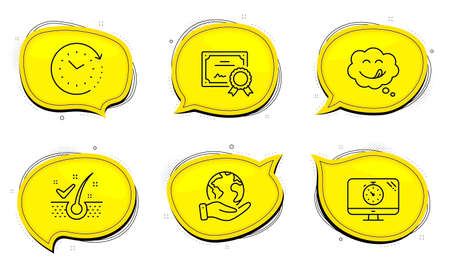 Yummy smile sign. Diploma certificate, save planet chat bubbles. Anti-dandruff flakes, Seo timer and Time change line icons set. Healthy hair, Analytics, Clock. Comic chat. Technology set. Vector