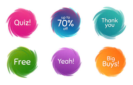 Swirl motion circles. Quiz, 70% discount and free. Thank you phrase. Sale shopping text. Twisting bubbles with phrases. Spiral texting boxes. Big buys slogan. Vector