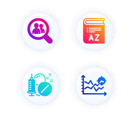Vocabulary, Search employees and Medical drugs icons simple set. Button with halftone dots. Seo analysis sign. Book, Staff analysis, Medicine pills. Targeting chart. Science set. Vector