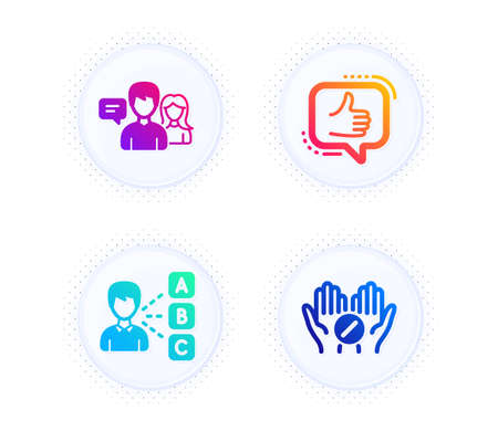 Like, Opinion and People talking icons simple set. Button with halftone dots. Medical tablet sign. Thumbs up, Choose answer, Contact service. Medicine pill. People set. Gradient flat like icon. Vector