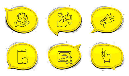 Megaphone sign. Diploma certificate, save planet chat bubbles. Like, Recovery phone and Touchscreen gesture line icons set. Thumbs up, Backup smartphone, Slide down. Brand advertisement. Vector Illustration