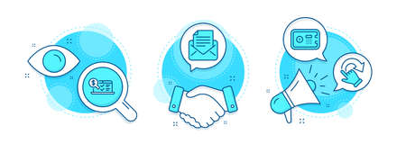 Safe box, Online accounting and Rotation gesture line icons set. Handshake deal, research and promotion complex icons. Mail correspondence sign. Deposit, Web audit, Undo. E-mail newsletter. Vector Foto de archivo - 150310059