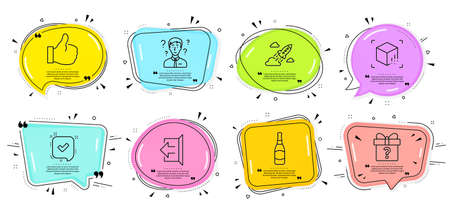 Like, Beer bottle and Confirmed signs. Speech bubbles with quotes. Sign out, Support consultant and Secret gift line icons set. Startup rocket, Augmented reality symbols. Logout, Question mark. Vector Illustration