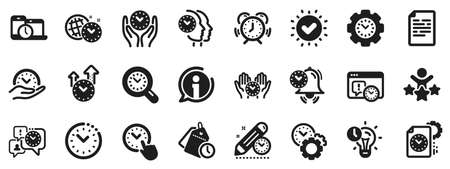 Alarm clock, timer plan and project deadline signs. Time management icons. Countdown clock, time log and appointment reminder icons. People work, watch and office timer. Vector
