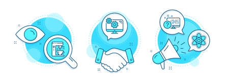 Chemistry atom, Settings and Online quiz line icons set. Handshake deal, research and promotion complex icons. Coffee maker sign. Laboratory molecule, Cogwheel tool, Web support. Tea machine. Vector