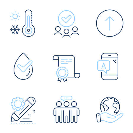 Swipe up, Dermatologically tested and Employees group line icons set. Diploma certificate, save planet, group of people. Ab testing, Project edit and Weather thermometer signs. Vector