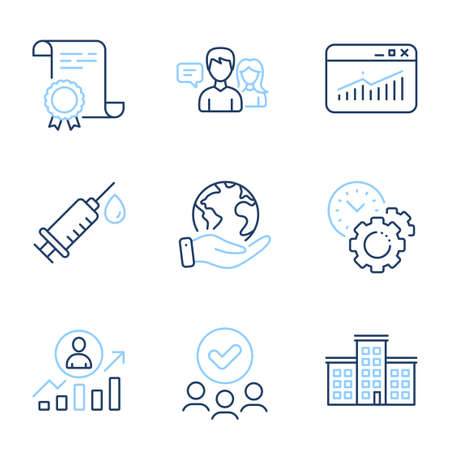 Medical syringe, Website statistics and Company line icons set. Diploma certificate, save planet, group of people. Career ladder, Time management and People talking signs. Vector