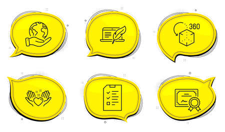 Hold heart sign. Diploma certificate, save planet chat bubbles. Copyright laptop, Interview and Augmented reality line icons set. Writer device, Checklist file, Virtual reality. Friendship. Vector