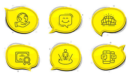 Smartphone sms sign. Diploma certificate, save planet chat bubbles. Augmented reality, Smile chat and Arena stadium line icons set. Virtual reality, Happy face, Sport complex. Mobile messages. Vector