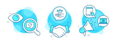 Consolidation, Online shopping and Love message line icons set. Handshake deal, research and promotion complex icons. Tablet pc sign. Strategy, Notebook with shopping cart, Dating service. Vector 向量圖像