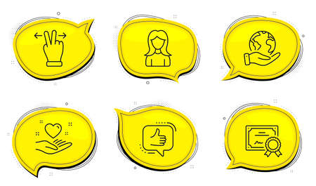 Like sign. Diploma certificate, save planet chat bubbles. Hold heart, Touchscreen gesture and Woman line icons set. Friendship, Swipe, Girl profile. Thumbs up. People set. Outline icons set. Vector