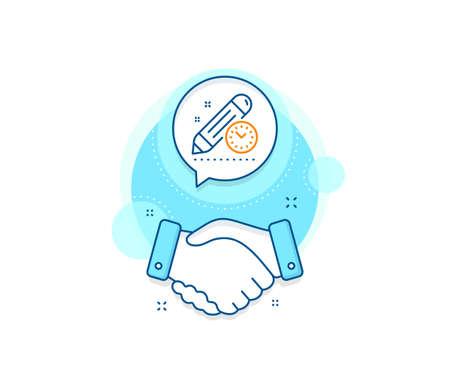 Time management sign. Handshake deal complex icon. Project deadline line icon. Clock symbol. Agreement shaking hands banner. Project deadline sign. Vector