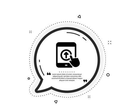 Swipe up tablet pc icon. Quote speech bubble. Scrolling arrow sign. Landing page scroll symbol. Quotation marks. Classic swipe up icon. Vector