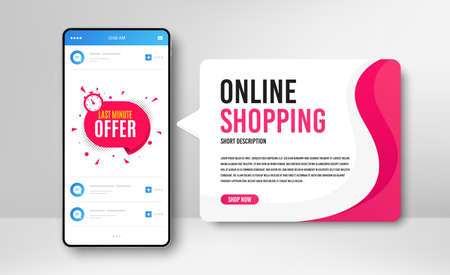 Phone banner template. Last minute badge. Hot offer chat bubble icon. Special deal label. Social media banner with smartphone screen. Online shopping web template. Last minute promotion badge. Vector 向量圖像