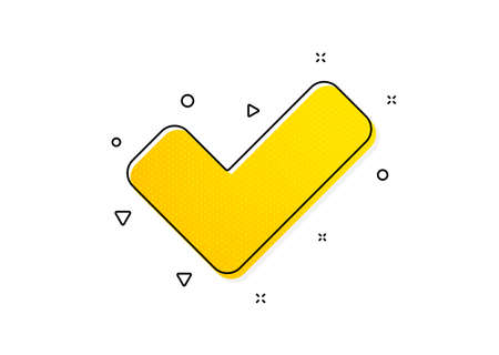 Approved Tick sign. Check icon. Confirm, Done or Accept symbol. Yellow circles pattern. Classic tick icon. Geometric elements. Vector