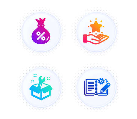 Loan, Loyalty program and Spanner icons simple set. Button with halftone dots. Engineering documentation sign. Money bag, Bonus star, Repair service. Manual. Technology set. Vector