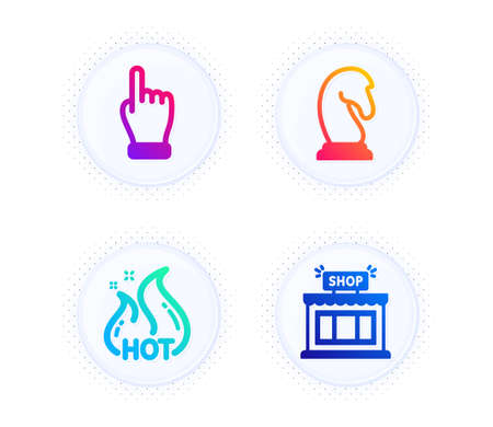Marketing strategy, Hot sale and Click hand icons simple set. Button with halftone dots. Shop sign. Chess knight, Shopping flame, Direction finger. Store. Business set. Vector