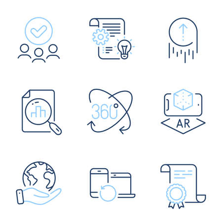 Augmented reality, Swipe up and Analytics graph line icons set. Diploma certificate, save planet, group of people. Cogwheel, Recovery devices and Full rotation signs. Vector 向量圖像