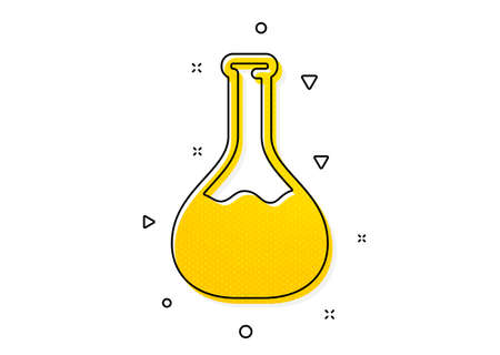 Laboratory flask sign. Chemistry lab icon. Analysis symbol. Yellow circles pattern. Classic chemistry lab icon. Geometric elements. Vector