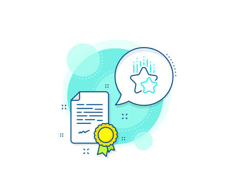 Star rating sign. Certification complex icon. Ranking stars line icon. Best rank symbol. Certificate or diploma document. Ranking stars sign. Vector 向量圖像