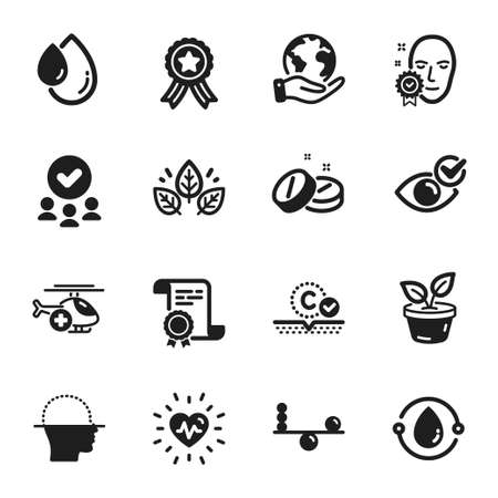 Set of Healthcare icons, such as Medical tablet, Check eye. Certificate, approved group, save planet. Heartbeat, Oil drop, Organic tested. Leaves, Balance, Face scanning. Vector 向量圖像