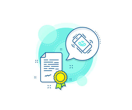 Phone support sign. Certification complex icon. Call center service line icon. Feedback symbol. Certificate or diploma document. Call center sign. Vector