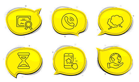 Call center sign. Diploma certificate, save planet chat bubbles. Star rating, Time and Speech bubble line icons set. Phone feedback, Clock, Chat message. Phone support. Technology set. Vector 向量圖像