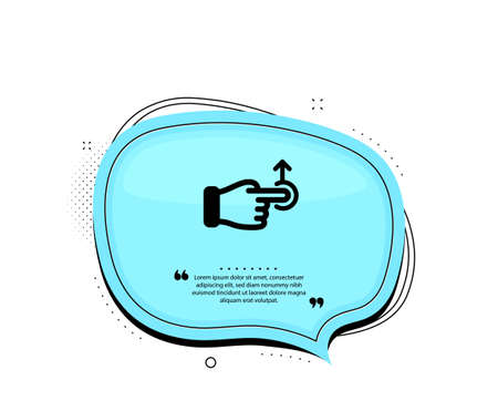 Drag drop gesture icon. Quote speech bubble. Slide arrow sign. Swipe action symbol. Quotation marks. Classic drag drop icon. Vector