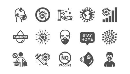 Coronavirus icons set. Hands sanitizer, medical protective mask, no vaccine. Stay home, washing hands hygiene, coronavirus epidemic mask icons. Covid-19 virus pandemic. Quality set. Vector